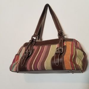 Multi Colored Fossil Canvas and Leather Key Bag